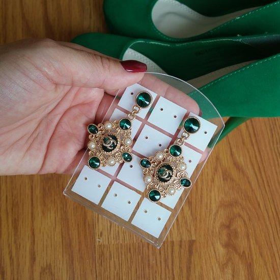 Chanel žalia prabanga auskarai