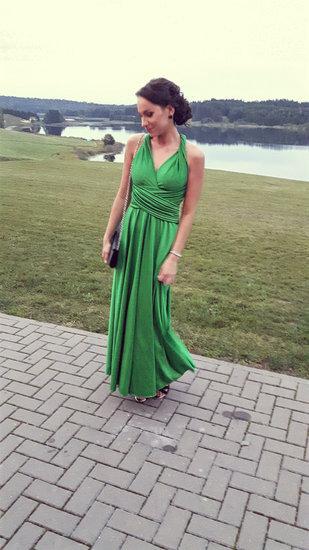 Top to bottom žalia suknelė