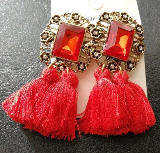 Nauji raudoni puošnūs auskarai