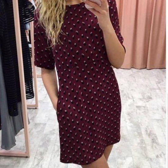 Bordo spalvos plona suknelė