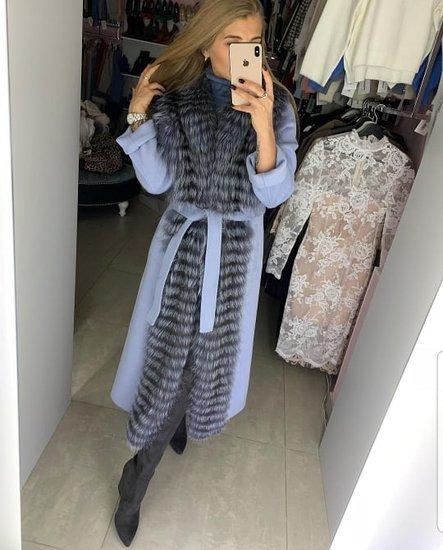 Prabangus elegantiškas paltas su lapes kailiu
