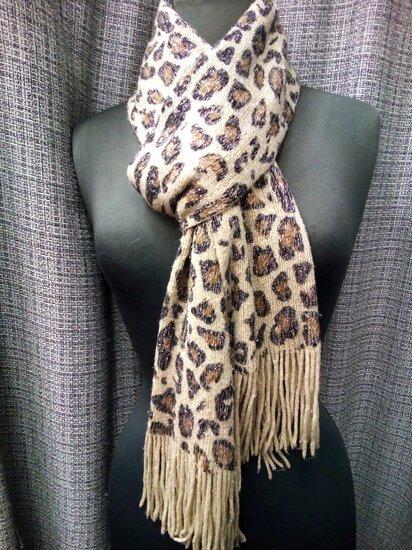 Blizgantis leopardinis šalikas 3878-23