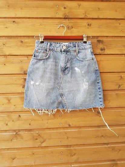 Džinsinis plėšytas sijonas