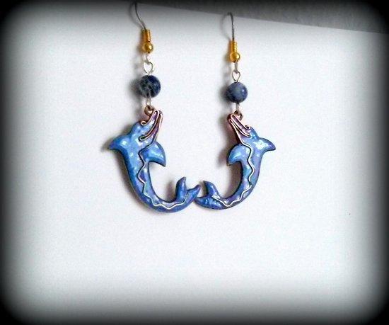 Auskarai delfinai