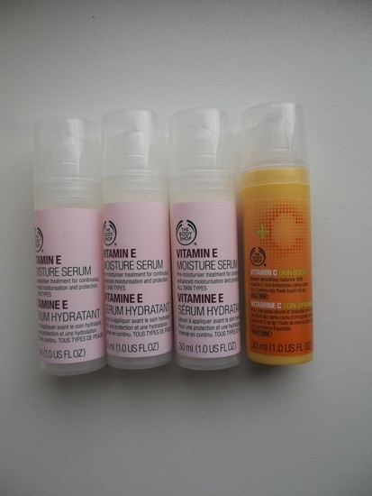 The body shop vitamino E ir C serumas